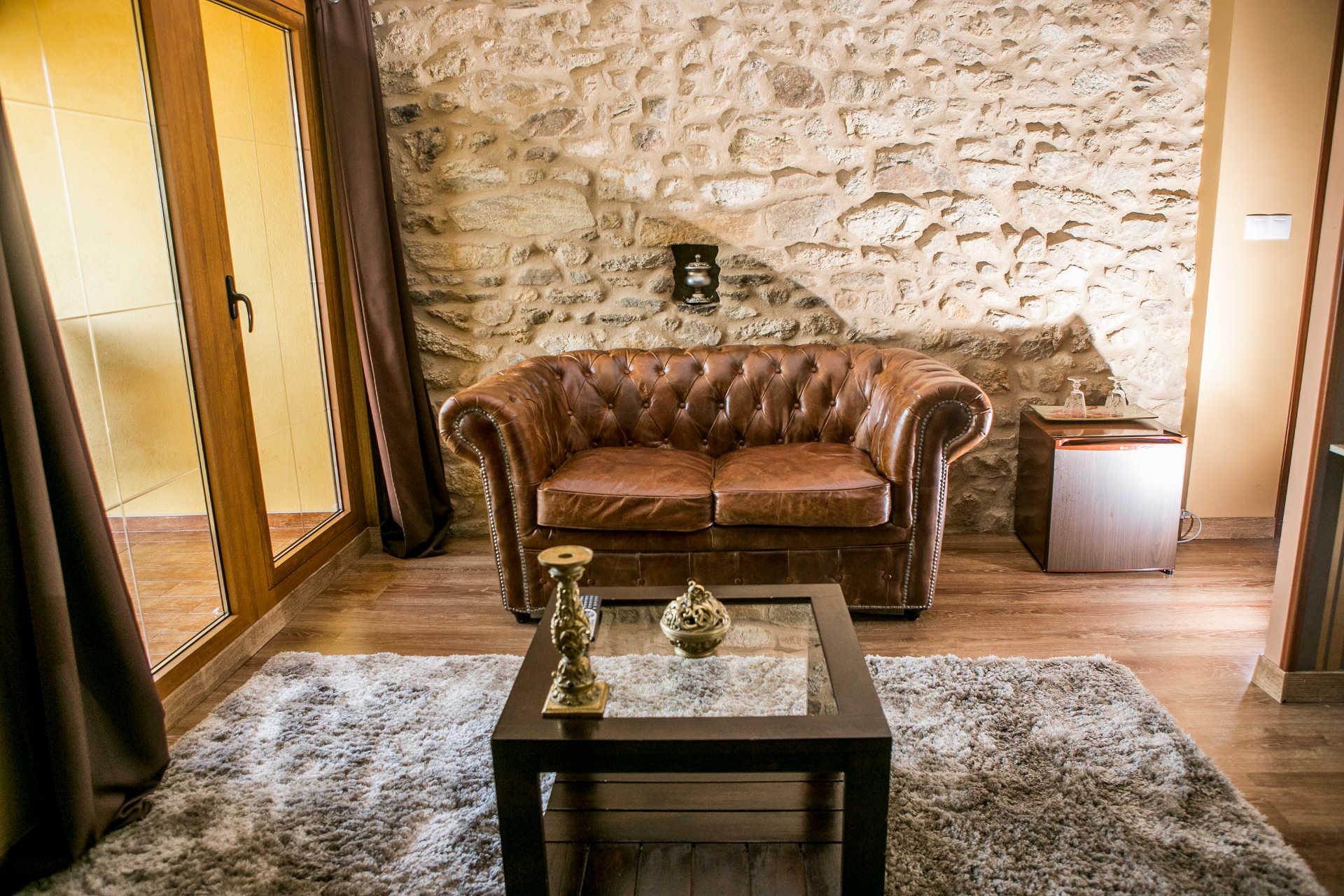 Habitacion doble Miradoiro con sofa casa rural